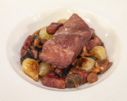 James Martin  Turbot Poached in Red Wine with Bourguignon Garnish on James Martin's Saturd ...