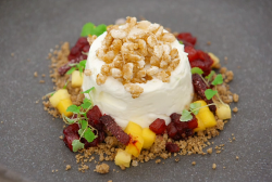 Louisa's set lime and yoghurt mousse with mango, yuzu and pineapple dessert on Masterchef  ...