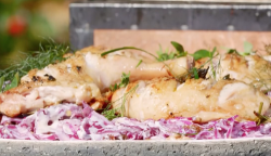 James Martin chicken legs and red cabbage salad with yoghurt dressing on James Martin's Sa ...