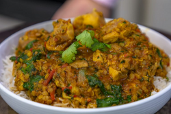 Jonathan Phang Curried Chicken with Spinach and Lentils on James martin's Saturday Morning