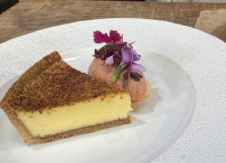 Lenny Carr-Roberts' custard tart with nutmegs and whipped cream on James Martin's Sa ...