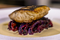 James Martin Sea bass with Red Cabbage and Mustard Sauce on James Martin's Saturday Morning