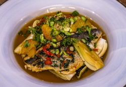 James Tanner Soy Poached Fillet of Sea Bream with Sesame Noodles, Pak Choi, Chilli and Orange on ...