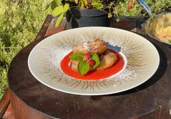 James Martin strawberry beignets with a strawberry and lemon verbena sauce on James Martin' ...