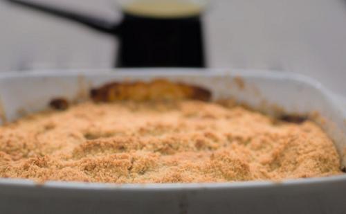 Rachel Johnson apple crumble with custard on Celebrity Best Home Cook