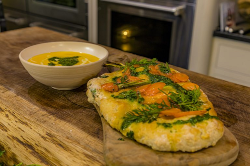 James Martin Carrot and Coriander Soup with Flatbread on James Martin's Saturday Morning