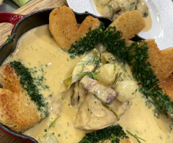 James Martin White Chicken Blanquette with Heart Shaped Fried Croutons on James Martin's S ...