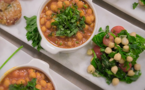 Ed Balls smoky chickpea chilli with chickpea  fritters and chickpea salad with lemon and herbs o ...