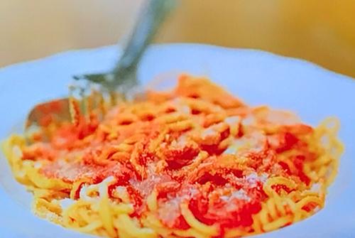 Stella's spaghetti alla chitarra with a tomato, basil and goats cheese sauce on  A Taste o ...