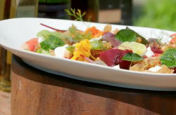 James Martin  Baked Beetroot Salad with Goat's Cheese and Hazelnuts on James Martin's Satu ...