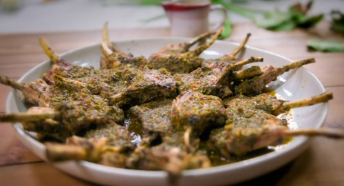 Ed Balls herby lamb cutlets with chargrilled broccoli and asparagus on Celebrity Best Home cook  ...