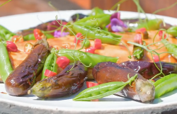 James Martin BBQ Miso Glazed Salmon with Baby Aubergines on James Martin's Saturday Morning