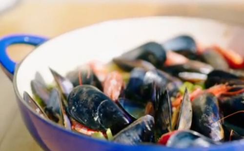 Nisha Katona mussels with potatoes, leafy greens, prawns and white wine one pot dish on A Taste  ...