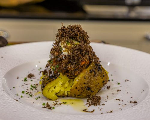 Paul Ainsworth Oxtail Ragu with Baked Yukon Gold Potato, Sour Cream and Aged Parmesan Cheese on  ...