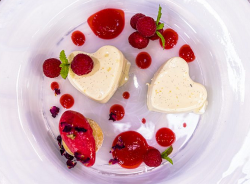 James Martin heart shaped raspberry panna cotta with raspberry  sorbet and mint on James Martin& ...