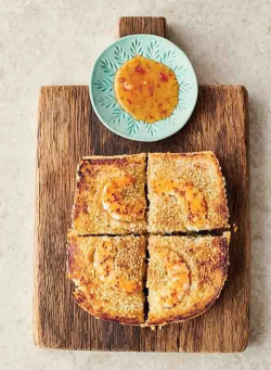 Jamie Oliver Prawn toast toastie with ginger, sesame seeds  and a sweet chilli sauce on Jamie: K ...