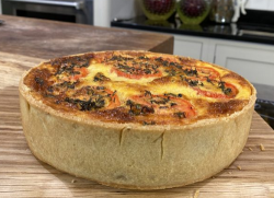 James Martin quiche with short crust pastry, onions tomatoes and cheese on James Martin's  ...