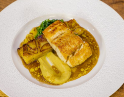 Tony Tobin Seared Halibut Steaks with Boulangère Potatoes, Spiced Cauliflower Puree and Thyme Ju ...
