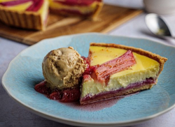 Simon Rimmer's rhubarb and custard tart with caramel ice cream on Sunday Brunch