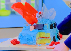 Tom Allen car horn cake on The Great Celebrity Bake Off for SU2C 2021