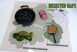 Stuart's dissected maps main course with veal and a beer and onion puree on the Great Brit ...