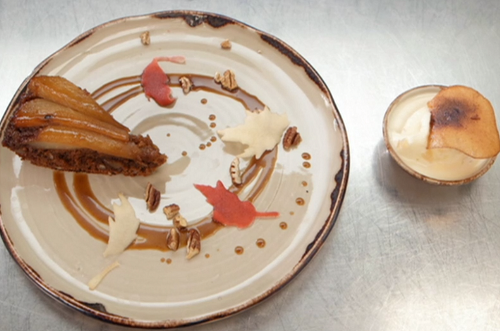 Madeeha's pear upside down cake with a spiced sticky toffee pudding sponge, pear and ginge ...