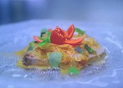 Giancarlo's sweet and sour tuna with onions, pasatta, mint, white wine vinegar and sugar o ...