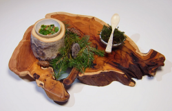 Nathan Davis 'Nuts About Trees' starter with sweet Hungarian wine, birch syrup and c ...