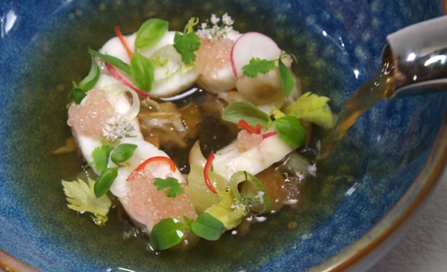 Get The Kettle On fish course with Dover sole and mushrooms by Kim Ratcharoen on the Great Briti ...
