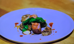 Tommy banks smoked duck breast with rhubarb ketchup on Gregg Wallace: Big Weekends Away