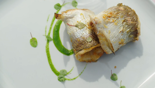 Catarina's fish rolls with herbs and parsley juice and olive oil on A Taste of Italy with  ...