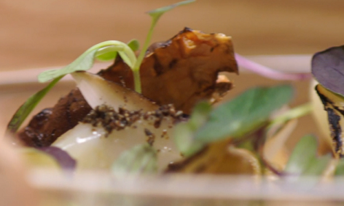 Growing Underground starter with Jerusalem artichoke, stout reduction and a cheese puree by Oli  ...