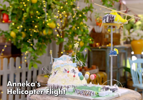 Anneka's Helicopter Flight Showstopper Cake on The Great Celebrity Bake Off for SU2C