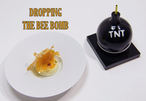 Tony's (Dropping The Bee Bomb) dessert with a honey cake, layered creme mousse, popping ca ...