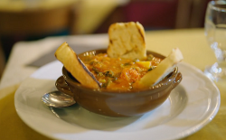 Andrea's Tuscan frantoiana vegetable soup on A Taste of Italy with Nisha Katona