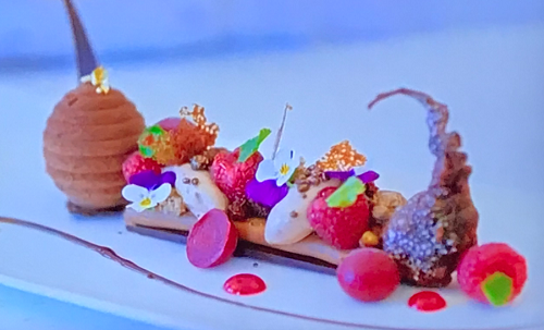 Ruth Hinks chocolate pudding with raspberries and deep fried bonbons on Rachel Khoo's Choc ...