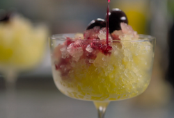 Prue Leith flat orange pop granitas with cherries on Cook Clever, Waste Less with Prue and Rupy